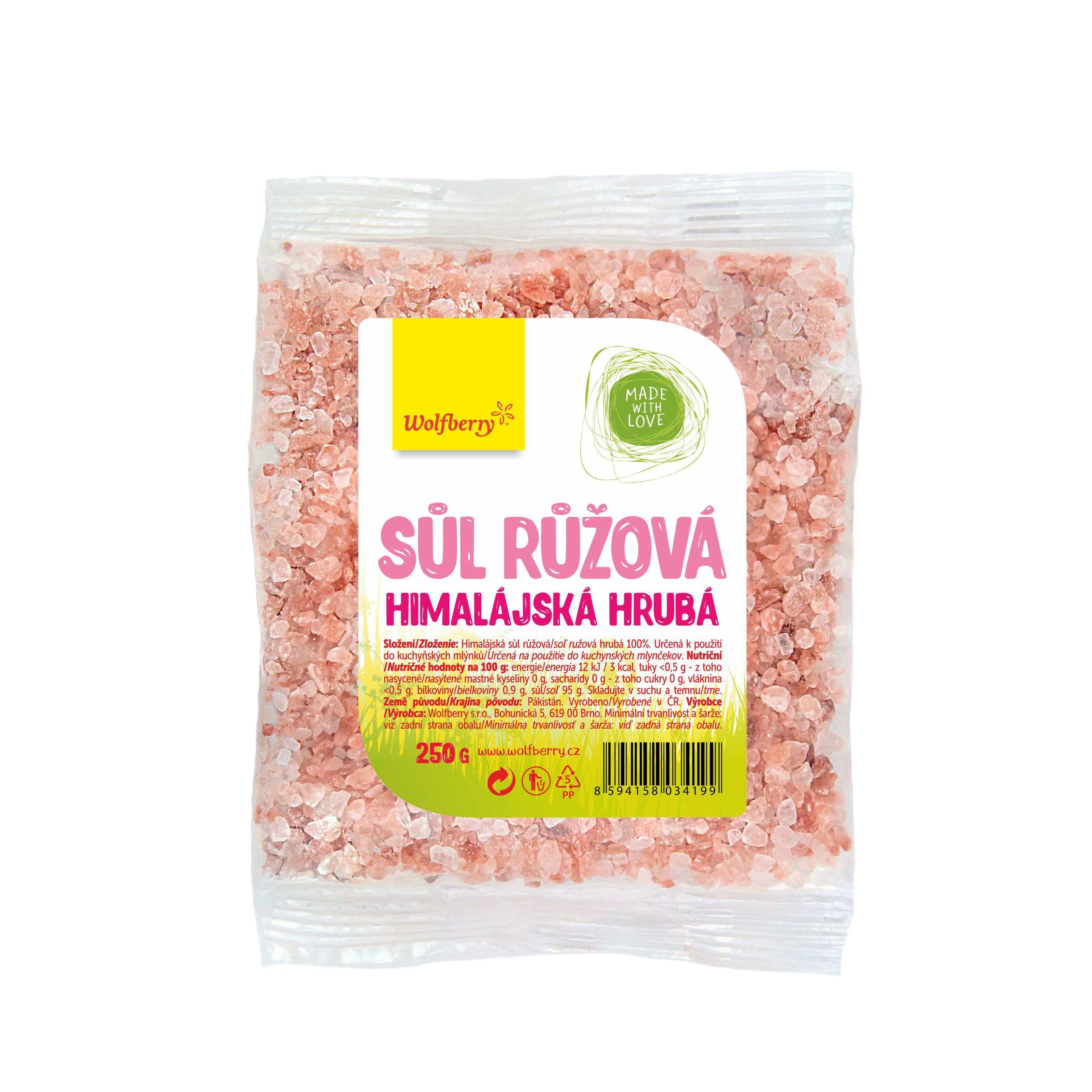 Himalájská sůl růžová hrubá 250g wolfberry