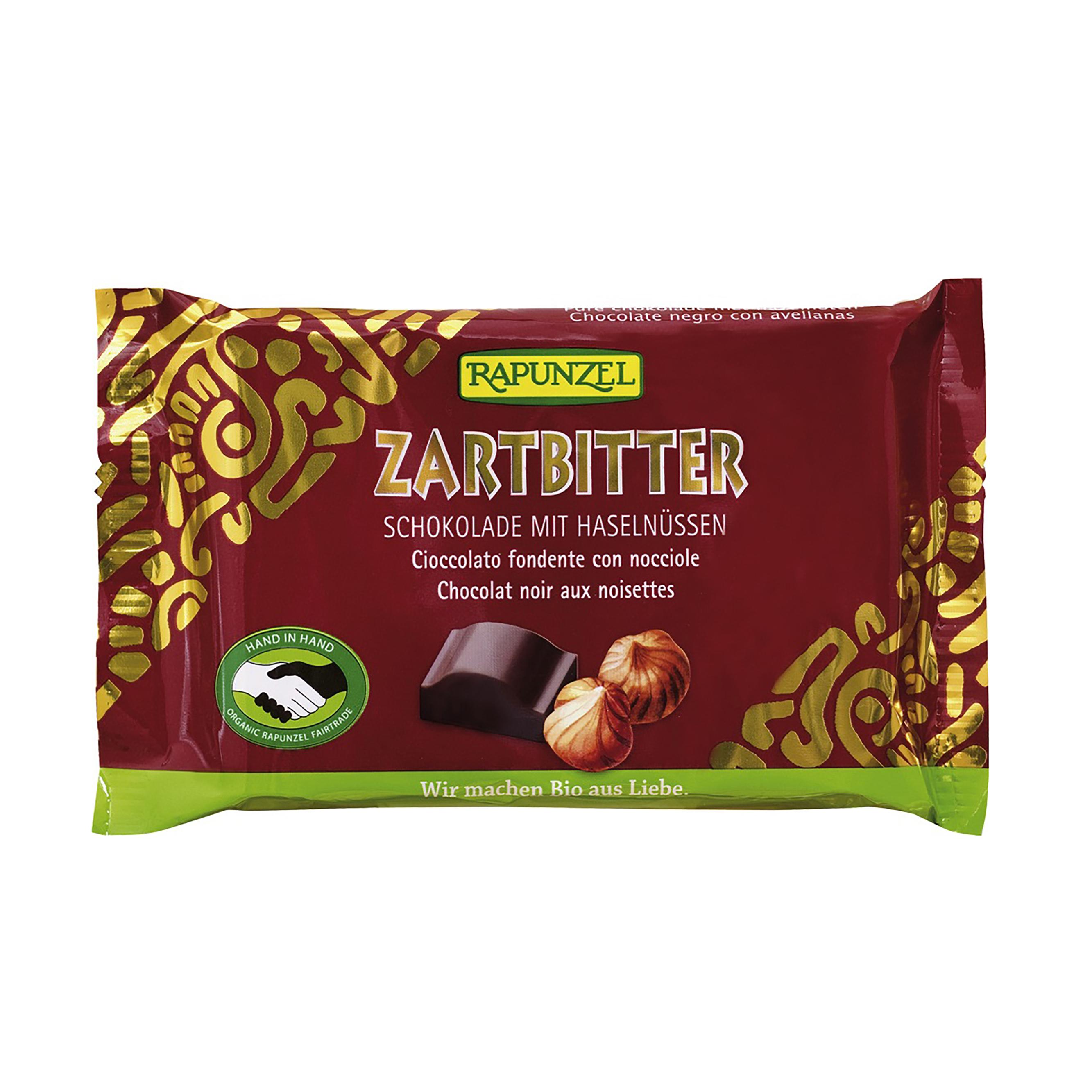 čokoláda hořká s lískovýmí oříšky bio 100 g rapunzel*