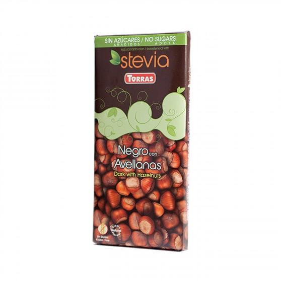 Hořká čokoláda slazená sladidlem z rostliny STEVIA s lískovými oříšky 125g Torras