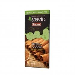 Hořká čokoláda slazená sladidlem z rostliny STEVIA se skořicí 125g Torras