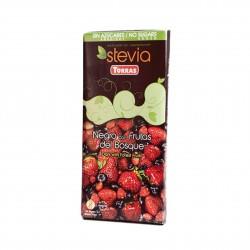 Hořká čokoláda slazená sladidlem z rostliny STEVIA s lesním ovocem 125g Torras