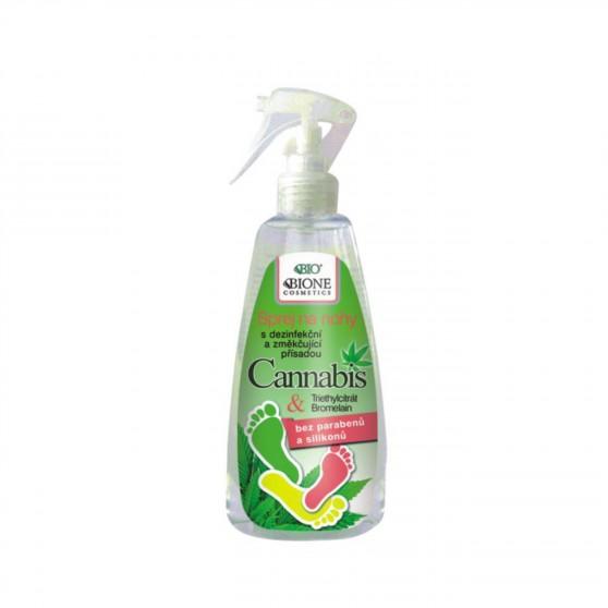 Sprej na nohy Cannabis s dezinfekční, změkčující přísadou 260 ml Bione Cosmetics