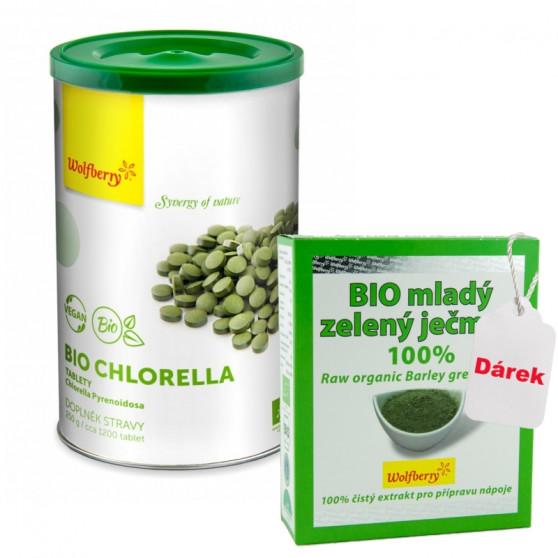 Chlorella BIO 250 g 1200 tbl Wolfberry + dárek Mladý ječmen