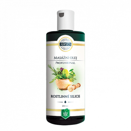 Rostlinné silice masážní olej 200ml Topvet