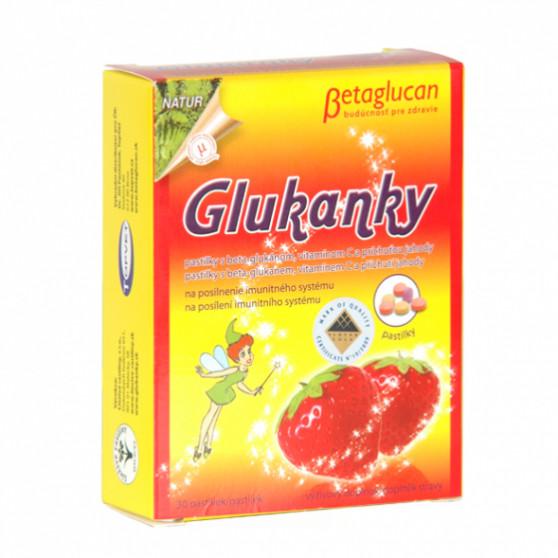 Glukanky - dětské pastilky s příchutí jahody Topvet