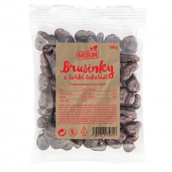 Brusinky v hořké čokoládě 100g Medium