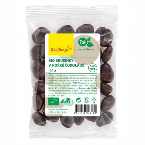 Brusinky v hořké čokoládě BIO 100g Wolfberry